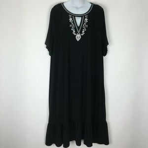 Catherines 2X Black Dress Embroidered Stretch